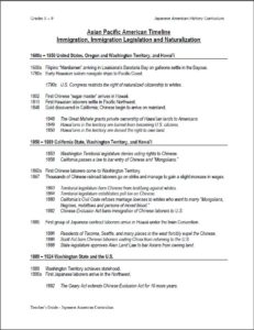 Asian Pacific American Timeline Handout