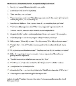 Oral History Sample Interview Questions
